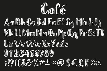 signo pesos: Tiza lating alfabeto. Fuente con soporte multilingüe, números, letras, símbolos de dinero, diacríticos y otros signos. Vectores