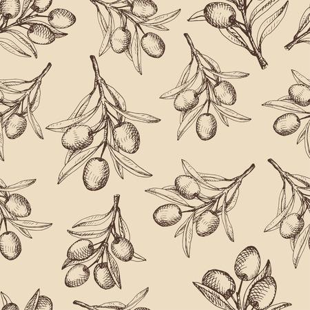 dark olive: Olive branches seamless pattern. Sketch brown drawing on dark beige background.
