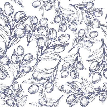 dark olive: Olive seamless pattern. Dark blue on white background.