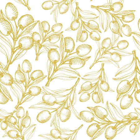 dark olive: Olive seamless pattern. Dark yellow on white background.