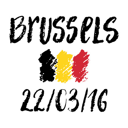 tribute: Brussels 22 March of 2016 and Belgium flag. Modern brush lettering composition. Tribute to victims of explosion in Brussels airport. Illustration