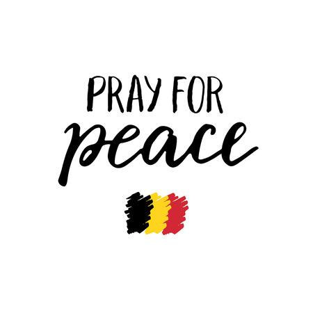 victims: Pray for peace and Belgian flag. Trubute to victims of terrorism in Brussels airport.