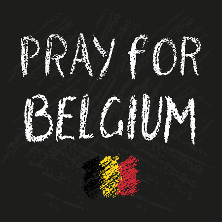 victims: Pray for Belgium chalk lettering. Trubute to victims of terrorism in Brussels airport. Chalkboard textures on background.