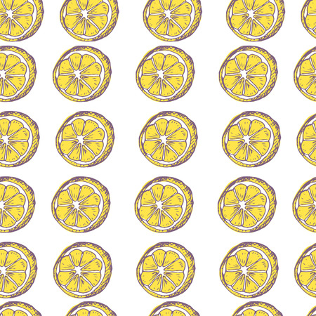 sketchy illustration: Lemon in row seamless pattern. Colorful sketchy illustration. Illustration