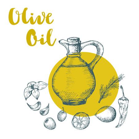 supplements: Olive oil design illustration. Sketch drawing of oil bottle and supplements. Illustration