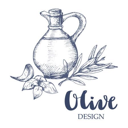 basil: Olive bottle illustration. Oil bottle, olive branch, garlic and basil.