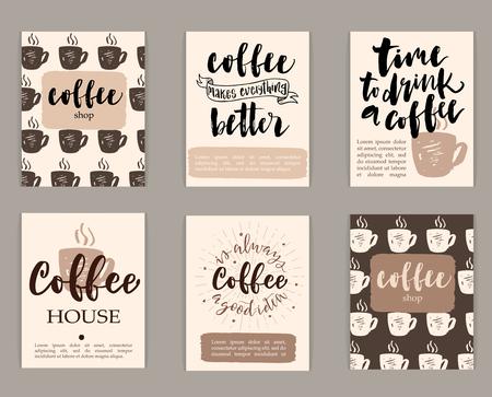broadsheet: Set of coffee design templates. Hand-drawn illustrations and brush lettering. Illustration