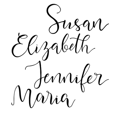 four objects: Set of four common american female names. Modern calligraphic style. Isolated objects.