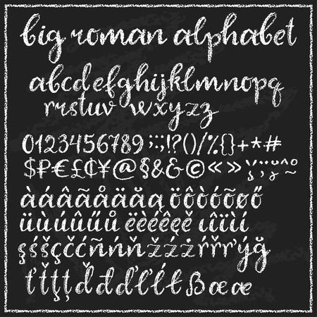 roman alphabet: Big chalk roman alphabet. Lowercase script letters with additional symbols and multilingual support. Chalkboard background.