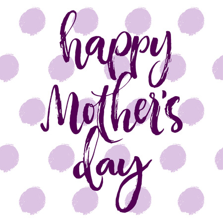 inky: Happy mothers day calligraphic lettering card. Purple brush written letters on inky spotted background.