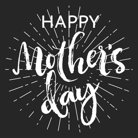 sans: Happy mothers day chalk greeting card. White rough script letters and sans word with rays on dark background.