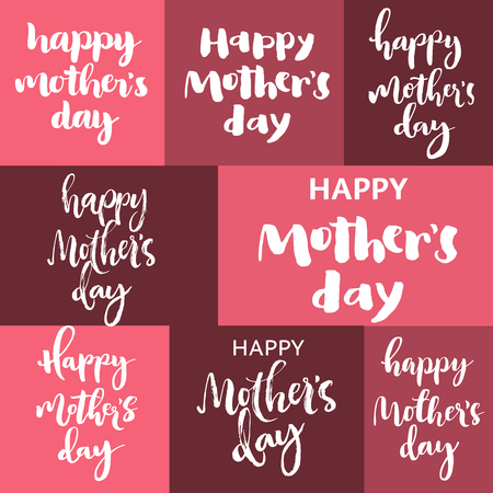 many colored: Happy mothers day pink lettering set. White letters on colorful squares.