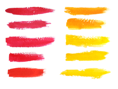 tints: Colorful watercolor brush strokes. Pink, red, orange and yellow tints. Isolated spots on white background.