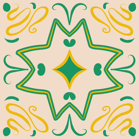 Square green and yellow ceramic tile with portugal motives