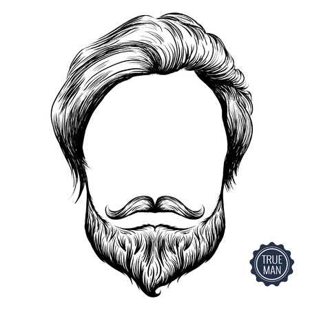 bearded man: Bearded man icon. Sketch inky illusration of hair, mustache and beard. Isolated on white background.