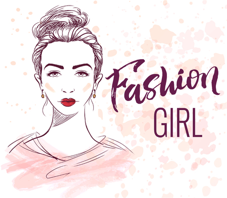 fateful: Fashion girl illustration with hand lettering, ink and watercolor effects on background. Illustration