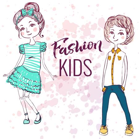 inky: Fashion style kids illustration. Trendy sketch of boy and girl on inky background. Illustration