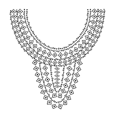 neckline: Neckline design. Embroidery drawing black on white isolated. Illustration