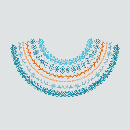 Neckline design. Embroidery drawing in scandinavian style.