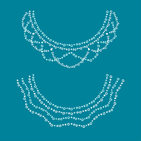 neckline: Neckline design. Embroidery drawing white and light blue colors. Illustration