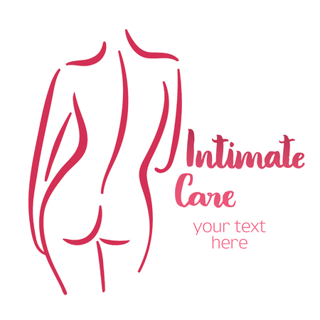 back of leg: Woman intimate care silhouette. Isolated hand-drawn illustration with brush lettering text - Intimate care. Good for web and print projects.