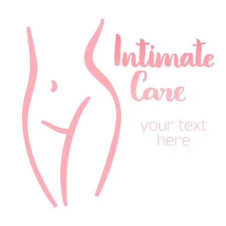 Woman intimate silhouette. Isolated hand-drawn illustration with brush lettering text - Intimate care. Good for web and print projects. 向量圖像