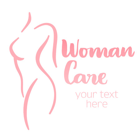 Woman body care silhouette. Isolated hand-drawn illustration with brush lettering text - Woman care. Good for web and print projects.  イラスト・ベクター素材