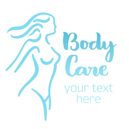 Woman body silhouette. Isolated hand-drawn illustration with brush lettering text - Body care. Good for web and print projects.