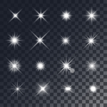 Vector lighting effects. Set of white glints on transparent like background.