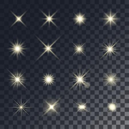 Vector lighting effects. Set of golden glints on transparent like background.