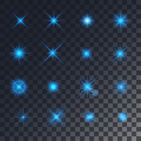 effects of lighting: Vector lighting effects. Set of blue glints on transparent like background.
