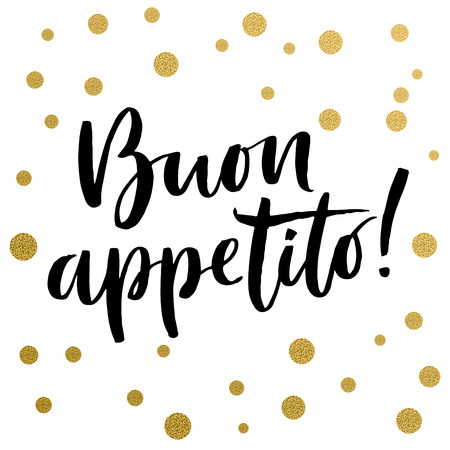 Kalligrafie, Italiaanse tekst: Geniet van uw maaltijd. Gouden decoratieve vectorpolka stippen. Geïsoleerde samenstelling op witte achtergrond voor webprojecten, groetkaarten, presentatiesjablonen.