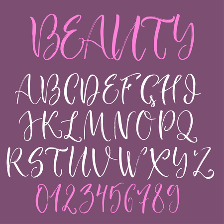 uppercase: Calligraphic english alphabet. Brush written uppercase letters and numbers. Illustration
