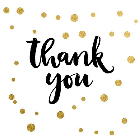 書道印刷 - ありがとうございます。黄金の装飾的なベクトルの水玉。Web プロジェクト、グリーティング カード、プレゼンテーション テンプレート