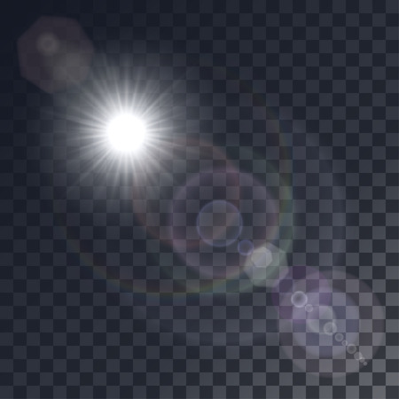 Vector white sun with light effects. Rays, hotspots on transparent like background. Colorful glints and flares. Çizim