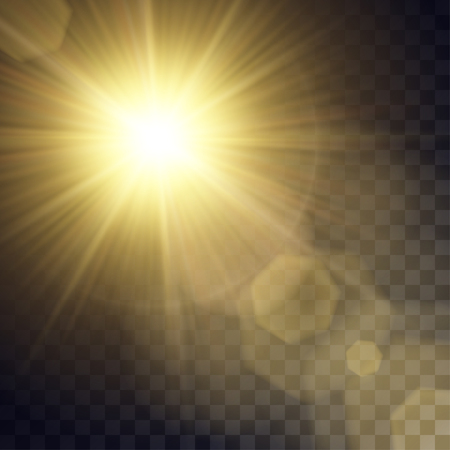 Vector yellow sun with light effects. Rays, hotspots, halo and flares on transparent like background. Contains clipping mask.