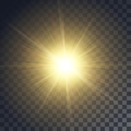 벡터 노랑 태양 광선 및 배경처럼 투명에 광선. 클리핑 마스크가 들어 있습니다. 일러스트