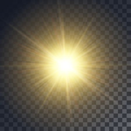 Vector yellow sun with rays and glow on transparent like background. Contains clipping mask.