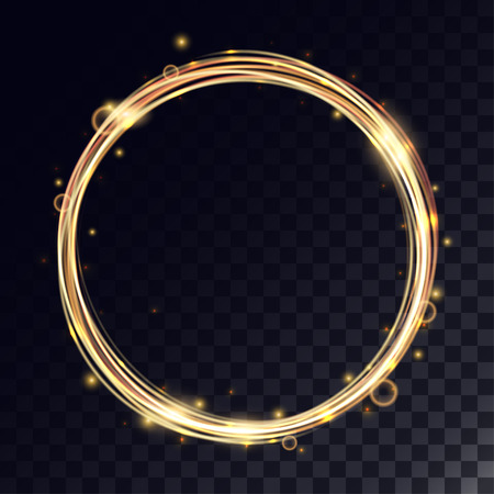 gold circle: Vector magic circle with light effects. Golden glitter ring with shiny particles and bokeh. Illustration