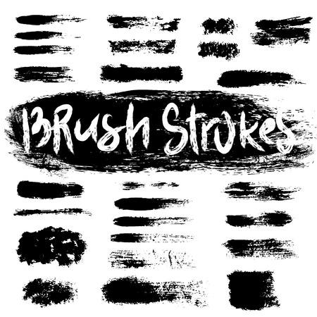 tacky: Grunge brush strokes set. Black hatches isolated on white background.