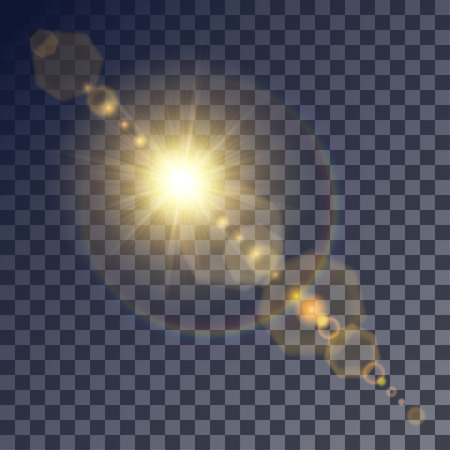gleams: Shining vector golden sun with light effects. Flares and gleams rounded and hexagonal shapes, rainbow halo.