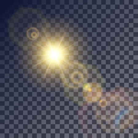 glint: Shining vector golden sun with colorful light effects. Flares and gleams rounded and hexagonal shapes, blue glint. Illustration