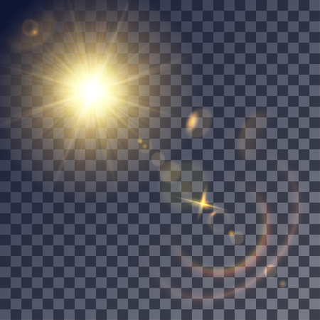 gleams: Shining vector golden sun with lens effects. Flares and gleams rounded and hexagonal shapes, colored halo.