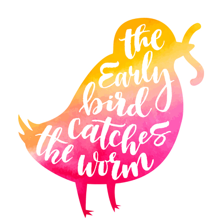 Lettering proverb early bird catches the worm. Watercolor background in silhouette. Modern calligraphy style in isolated illustration.  イラスト・ベクター素材