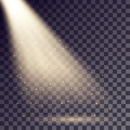 irradiation: Golden rays from spotlight with shining particles on transparent background.