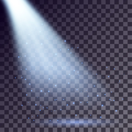 Blue rays from spotlight with shining particles on transparent background. Illustration