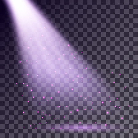 Purple rays from spotlight with shining particles on transparent background.