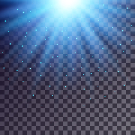 light beams: Blue rays from top with shiny particles on transparent background.