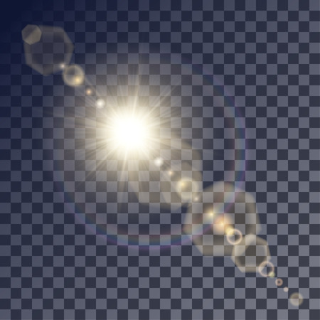 gleams: Shining beige vector golden sun with light effects. Flares and gleams rounded and hexagonal shapes, rainbow halo.