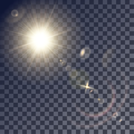 gleams: Shining beige vector golden sun with lens effects. Flares and gleams rounded and hexagonal shapes, colored halo.